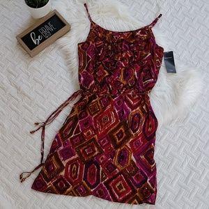 {Karen Kane} 100% Silk The Sunset Ruffle Dress